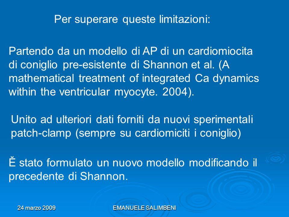 24 marzo 2009EMANUELE SALIMBENI Partendo da un modello di AP di un cardiomiocita di coniglio pre-esistente di Shannon et al.