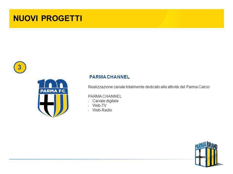 NUOVI PROGETTI Realizzazione canale totalmente dedicato alle attività del Parma Calcio PARMA CHANNEL Canale digitale Web-TV Web-Radio PARMA CHANNEL 3