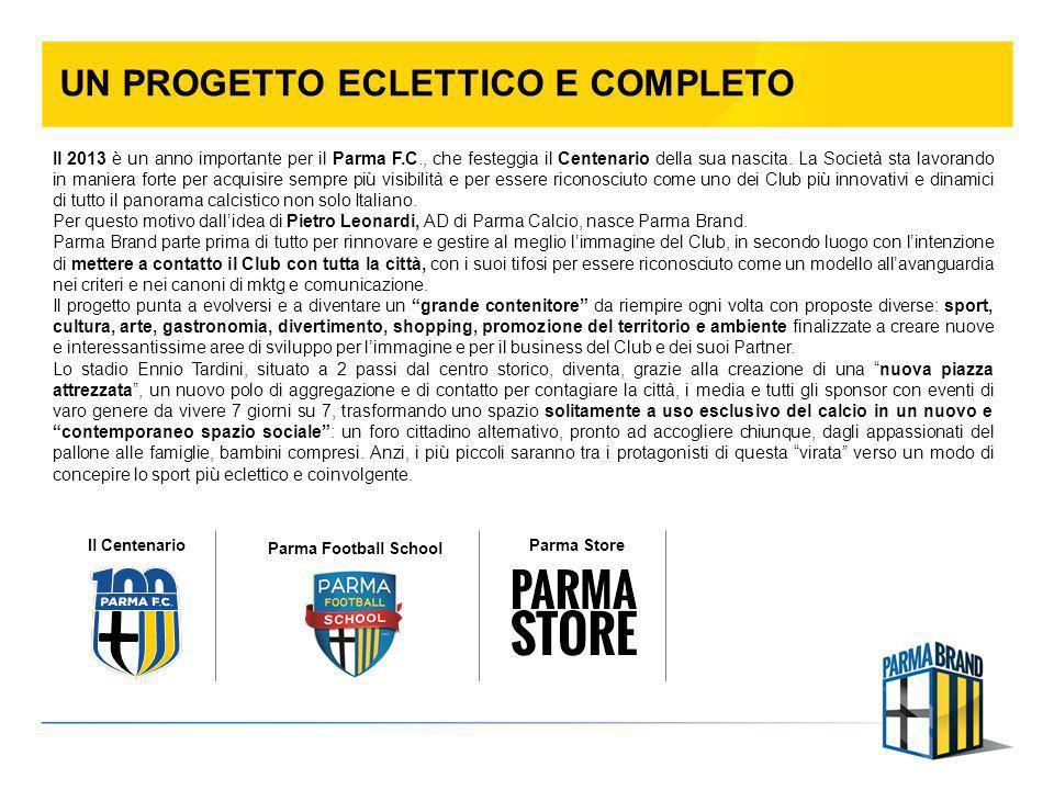UN PROGETTO ECLETTICO E COMPLETO Il 2013 è un anno importante per il Parma F.C., che festeggia il Centenario della sua nascita. La Società sta lavoran