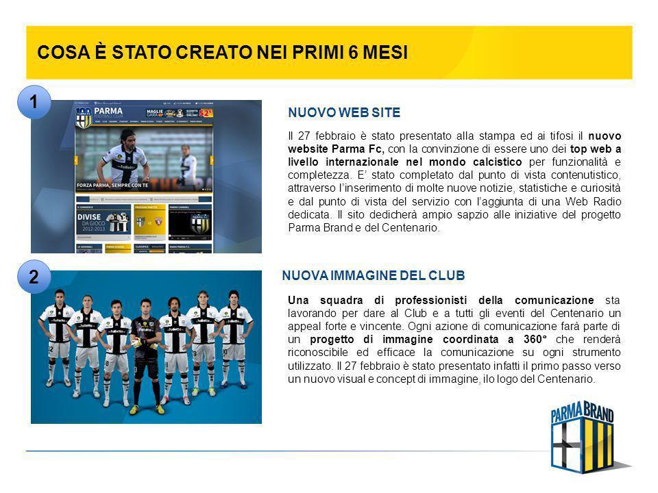 COSA È STATO CREATO NEI PRIMI 6 MESI Il 27 febbraio è stato presentato alla stampa ed ai tifosi il nuovo website Parma Fc, con la convinzione di esser