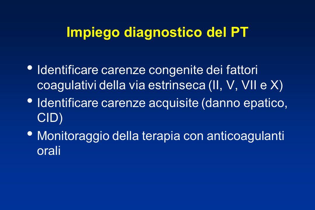 Impiego diagnostico del PT Identificare carenze congenite dei fattori coagulativi della via estrinseca (II, V, VII e X) Identificare carenze acquisite (danno epatico, CID) Monitoraggio della terapia con anticoagulanti orali