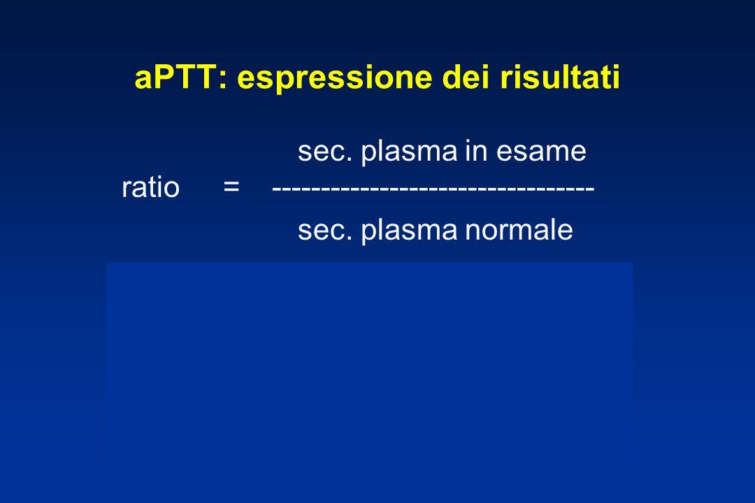 aPTT: espressione dei risultati sec.plasma in esame ratio = --------------------------------- sec.