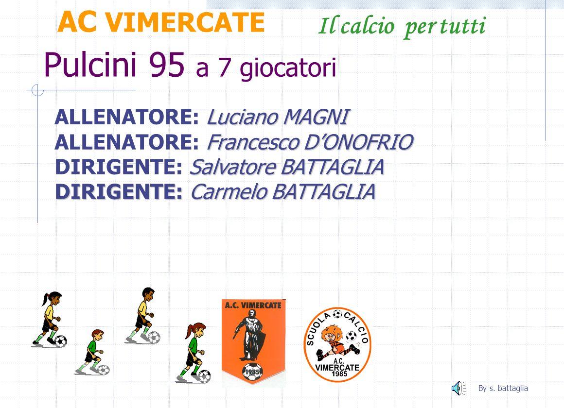 Pulcini 94 a 9 giocatori AC VIMERCATE Il calcio per tutti Nicola CIFARELLI ALLENATORE: Nicola CIFARELLI Massimo PASSONI AIUTO ALL.: Massimo PASSONI Lu