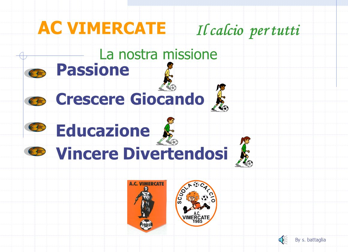 AC VIMERCATE Il calcio per tutti Passione La nostra missione Vincere Divertendosi Educazione Crescere Giocando By s.