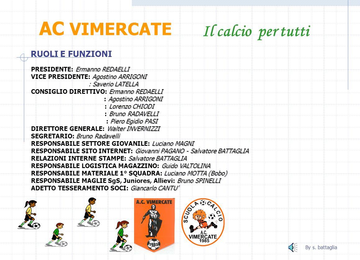 Primi calci 97 AC VIMERCATE Il calcio per tutti Luciano MAGNI ALLENATORE: Luciano MAGNI Marta SALA RESPONSABILE Isef: Marta SALA By s.