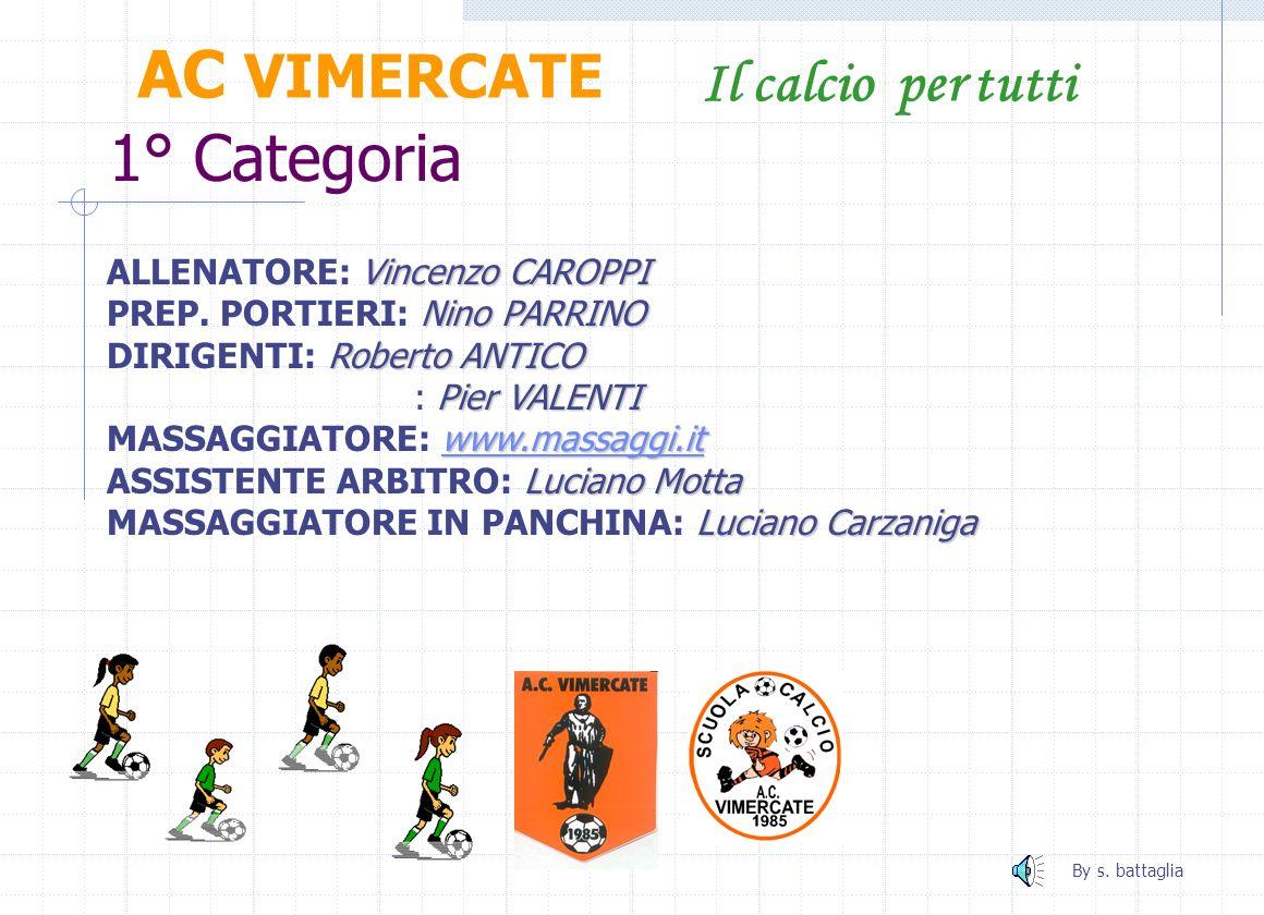 Primi calci 98/99 AC VIMERCATE Il calcio per tutti Marta SALA PREP.Isef: Marta SALA DIRIGENTI: Fabrizio GIMIGLIANO : Marco GIMIGLIANO : Marco GIMIGLIANO By s.