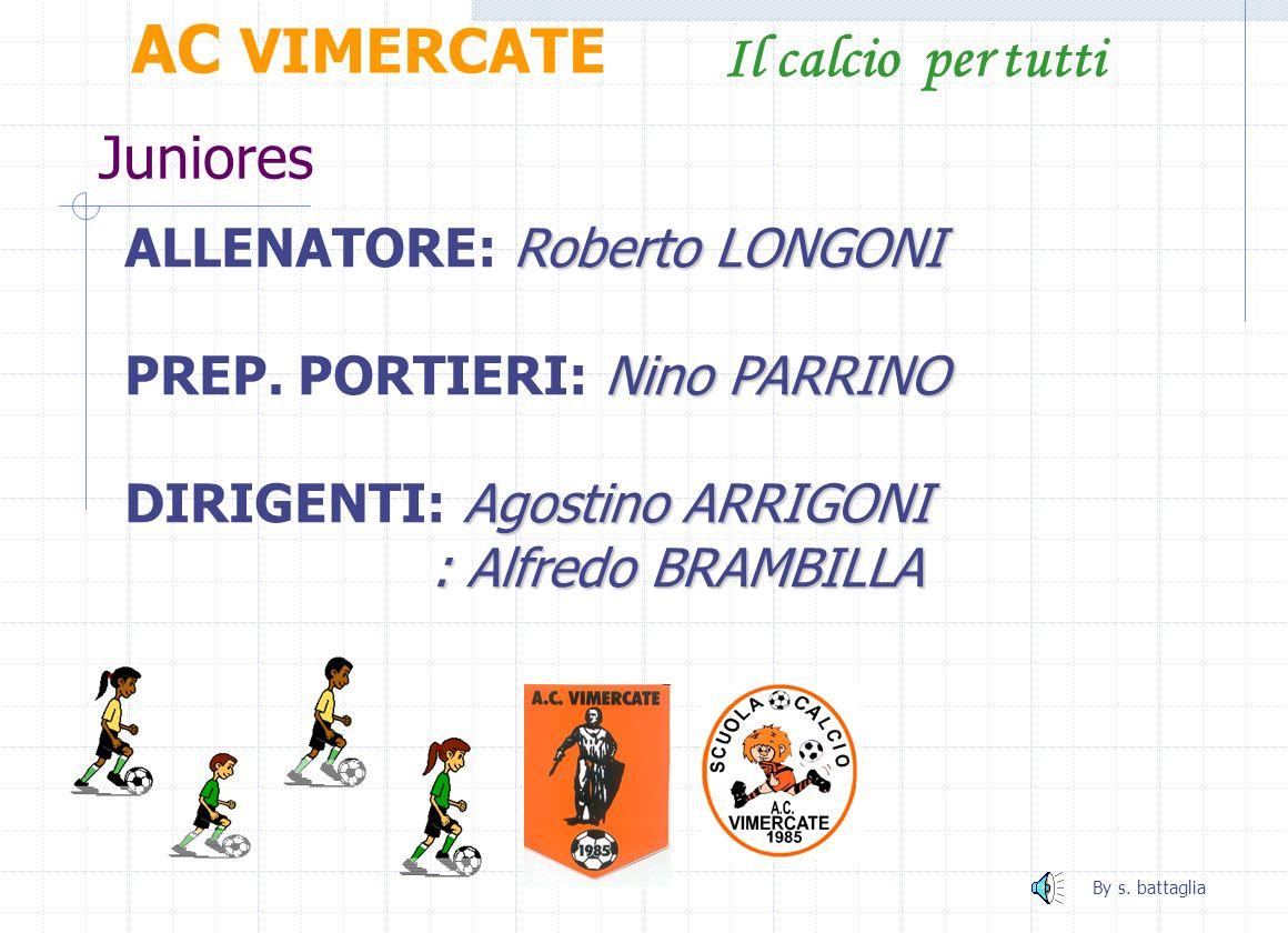 Juniores AC VIMERCATE Il calcio per tutti Roberto LONGONI ALLENATORE: Roberto LONGONI Nino PARRINO PREP.