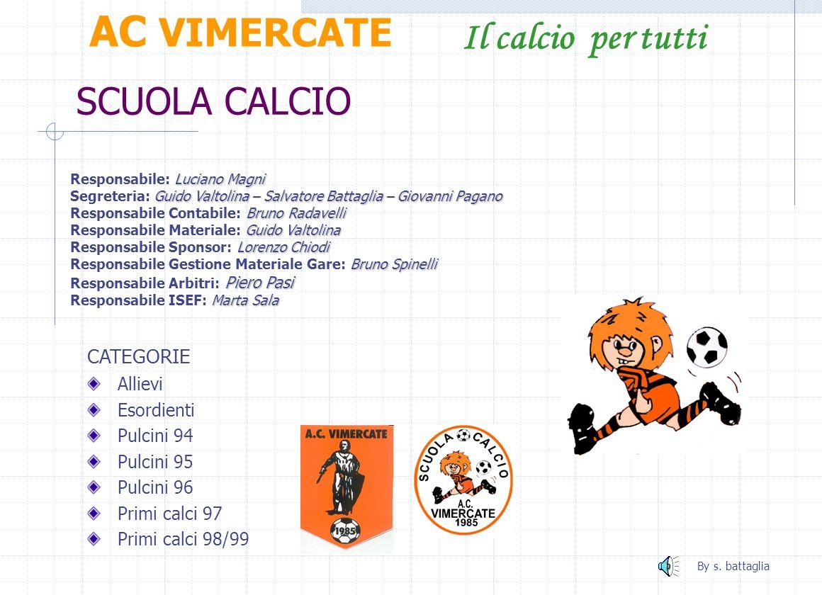 Juniores AC VIMERCATE Il calcio per tutti Roberto LONGONI ALLENATORE: Roberto LONGONI Nino PARRINO PREP. PORTIERI: Nino PARRINO Agostino ARRIGONI DIRI