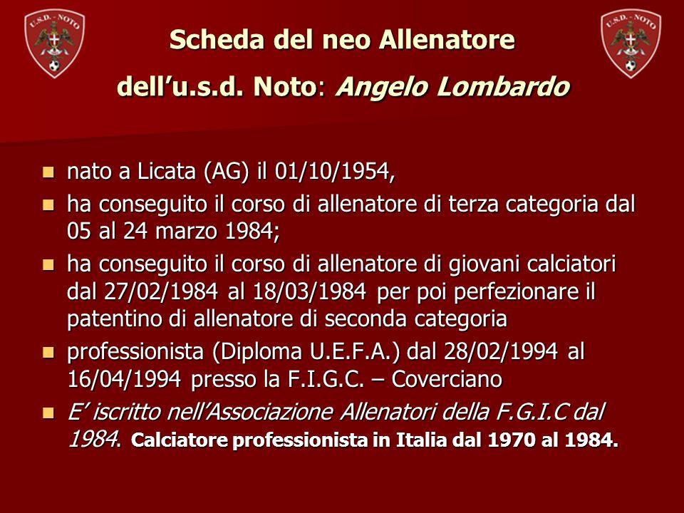 Ha lavorato ed allenato le seguenti squadre di calcio: Licata C2 (secondo di Zeman 1984/85); Licata C1 (secondo di Zeman 1985/86); Foggia C1 (secondo di Zeman 1986/87); Messina Calcio B (allenatore area tecnica 1987/88); Messina Calcio B (secondo di Zeman 1988/89); Messina Calcio B (secondo di Zeman 1989/90); Trapani C2 (Allenatore 1990/91); Nuova Igea C2 (Allenatore 1991/92); Licata C2 (Allenatore 1992/93); Fasano C2 (Allenatore 1993/94); Licata C2 (secondo di Zeman 1984/85); Licata C1 (secondo di Zeman 1985/86); Foggia C1 (secondo di Zeman 1986/87); Messina Calcio B (allenatore area tecnica 1987/88); Messina Calcio B (secondo di Zeman 1988/89); Messina Calcio B (secondo di Zeman 1989/90); Trapani C2 (Allenatore 1990/91); Nuova Igea C2 (Allenatore 1991/92); Licata C2 (Allenatore 1992/93); Fasano C2 (Allenatore 1993/94);