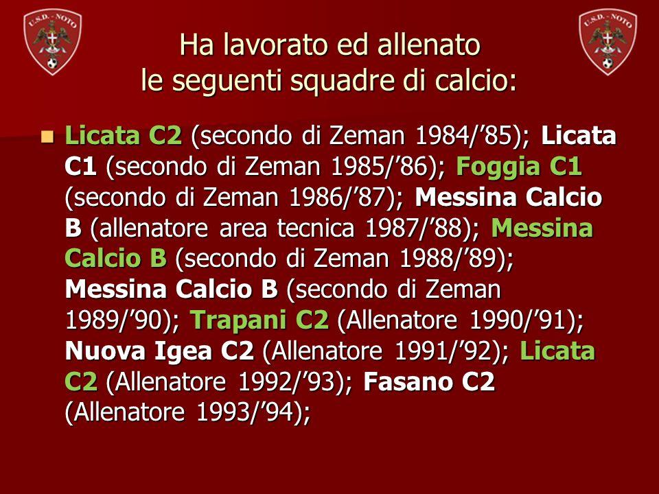 Ha lavorato ed allenato le seguenti squadre di calcio: Licata C2 (secondo di Zeman 1984/85); Licata C1 (secondo di Zeman 1985/86); Foggia C1 (secondo