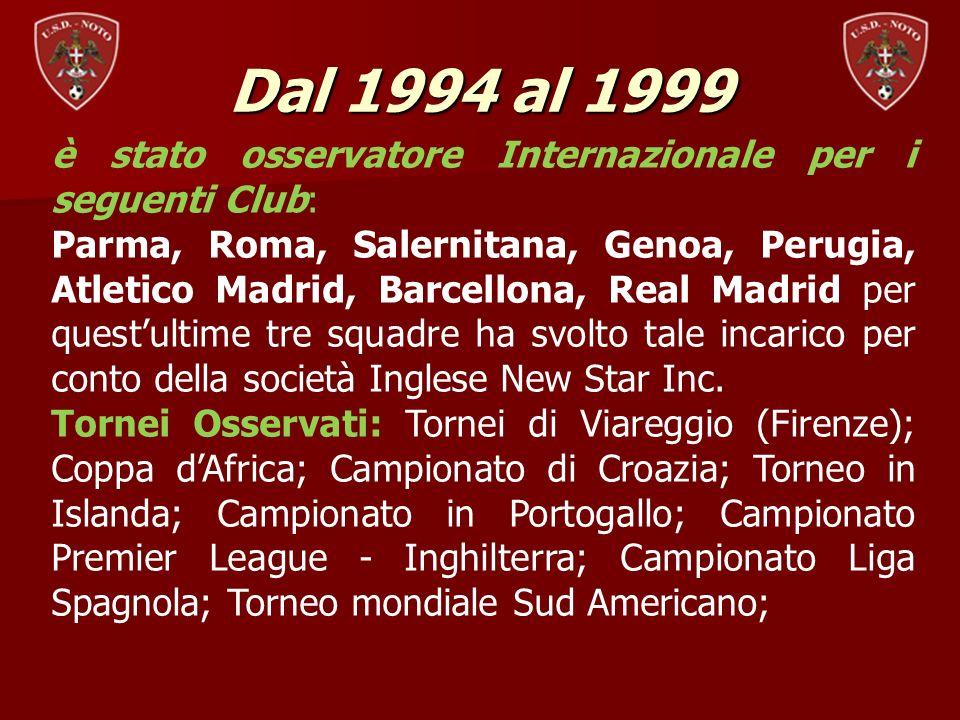Dal 1994 al 1999 è stato osservatore Internazionale per i seguenti Club: Parma, Roma, Salernitana, Genoa, Perugia, Atletico Madrid, Barcellona, Real M