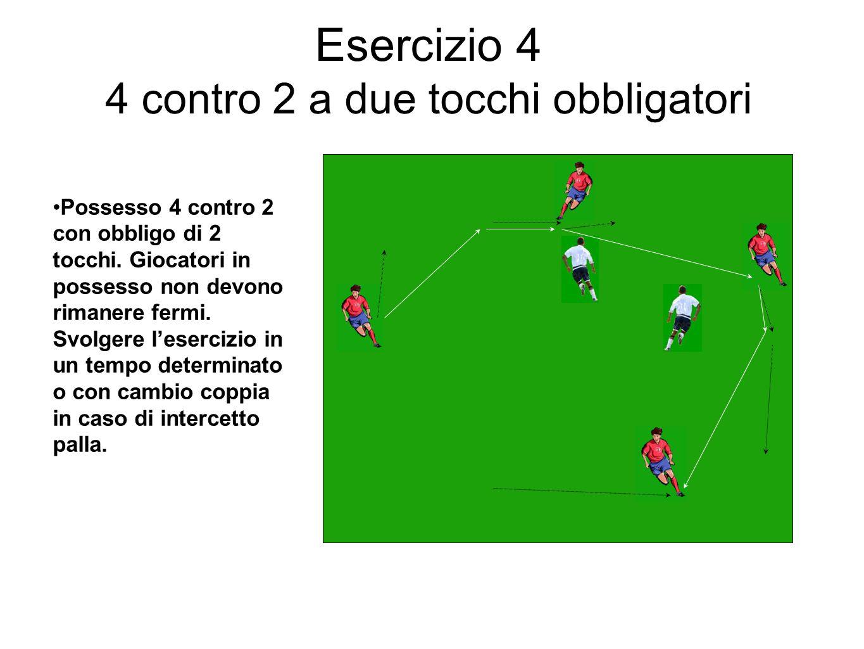 Esercizio 4 4 contro 2 a due tocchi obbligatori Possesso 4 contro 2 con obbligo di 2 tocchi. Giocatori in possesso non devono rimanere fermi. Svolgere
