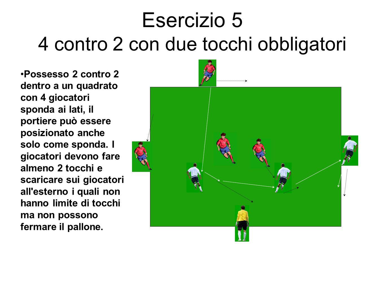 Esercizio 5 4 contro 2 con due tocchi obbligatori Possesso 2 contro 2 dentro a un quadrato con 4 giocatori sponda ai lati, il portiere può essere posi