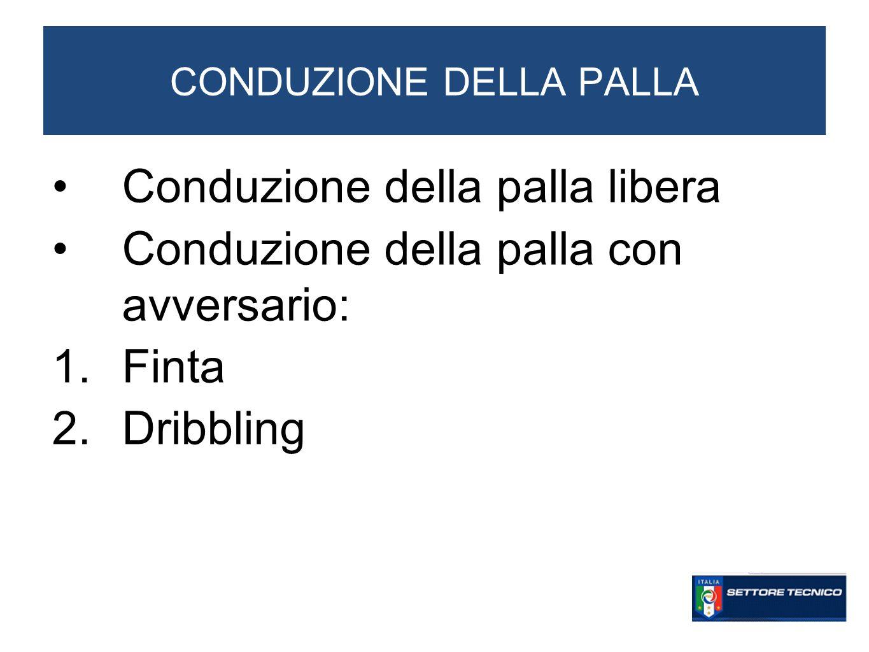 CONDUZIONE DELLA PALLA Conduzione della palla libera Conduzione della palla con avversario: 1.Finta 2.Dribbling