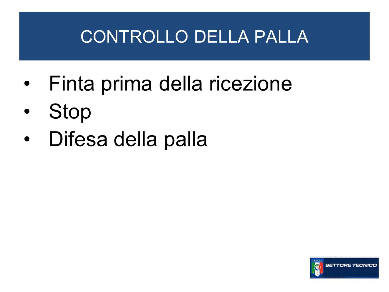 CONTROLLO DELLA PALLA Finta prima della ricezione Stop Difesa della palla