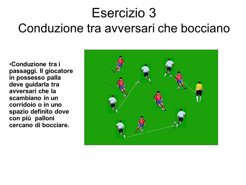 Esercizio 3 Conduzione tra avversari che bocciano Conduzione tra i passaggi. Il giocatore in possesso palla deve guidarla tra avversari che la scambia