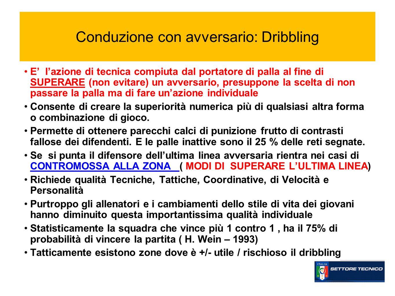 Conduzione con avversario: Dribbling E lazione di tecnica compiuta dal portatore di palla al fine di SUPERARE (non evitare) un avversario, presuppone