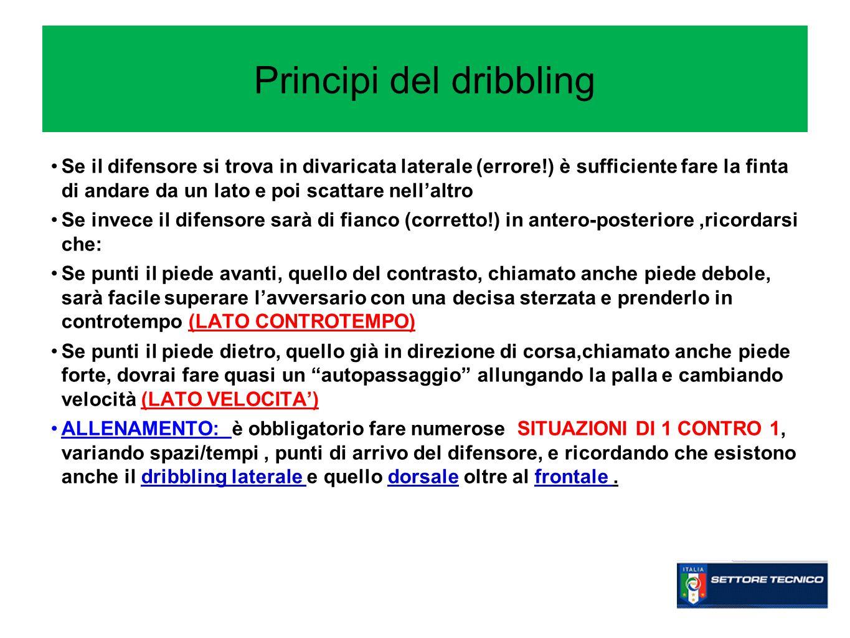 Principi del dribbling Se il difensore si trova in divaricata laterale (errore!) è sufficiente fare la finta di andare da un lato e poi scattare nella
