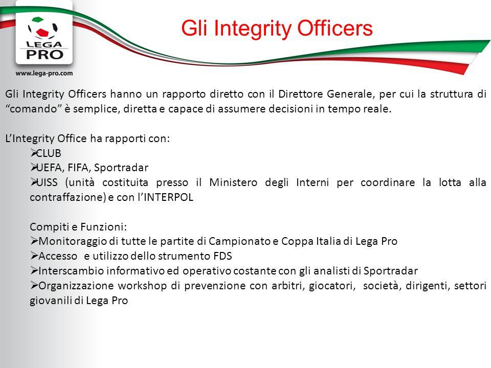 Gli Integrity Officers Gli Integrity Officers hanno un rapporto diretto con il Direttore Generale, per cui la struttura di comando è semplice, diretta e capace di assumere decisioni in tempo reale.