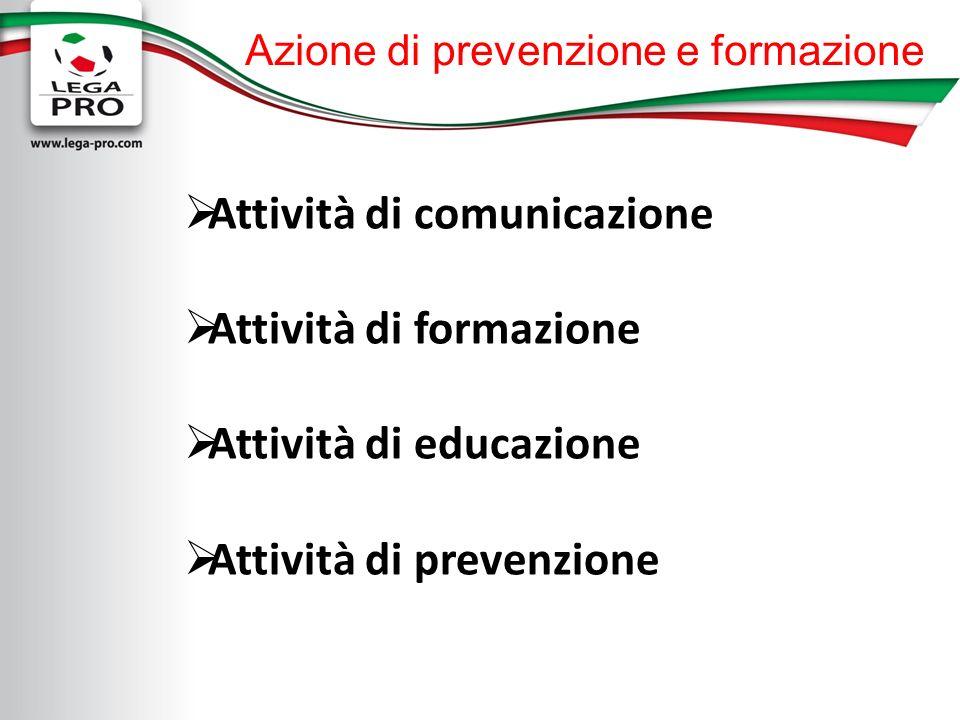 Azione di prevenzione e formazione Attività di comunicazione Attività di formazione Attività di educazione Attività di prevenzione