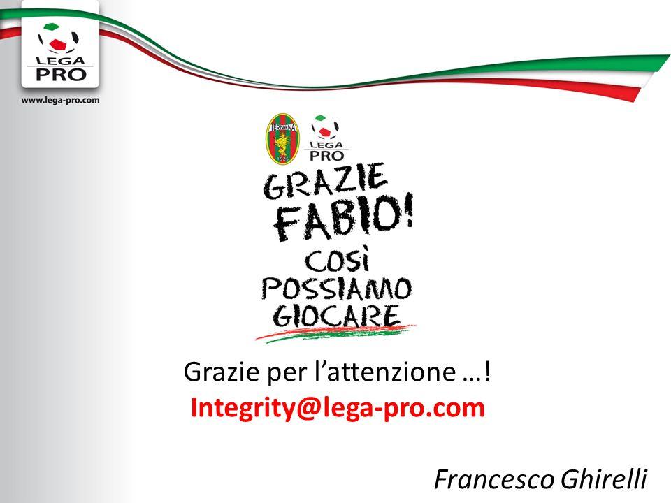 Grazie per lattenzione …! Integrity@lega-pro.com Francesco Ghirelli
