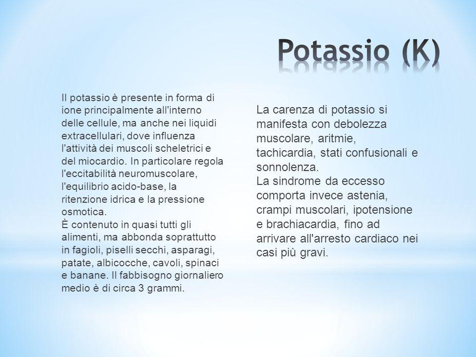 Il potassio è presente in forma di ione principalmente all'interno delle cellule, ma anche nei liquidi extracellulari, dove influenza l'attività dei m