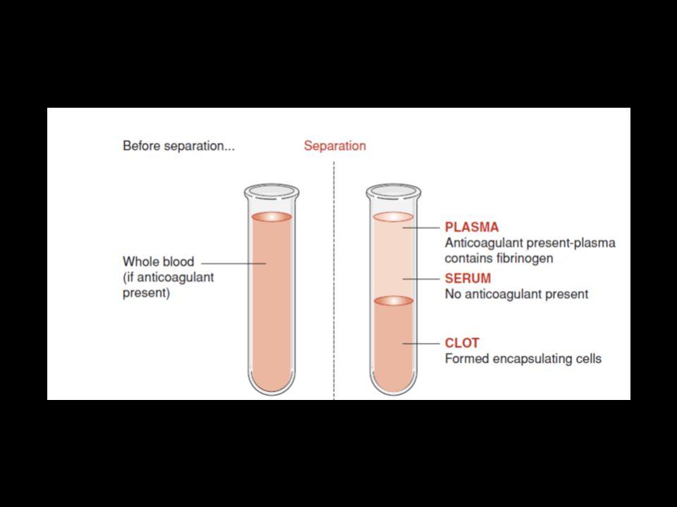 SANGUE INTERO costituito da - parte corpuscolata - plasma Si ottiene rendendo il sangue incoagulabile con anticoagulanti PLASMA sangue privato degli elementi corpuscolati Si ottiene da sangue prelevato con anticoagulante separandolo dagli elementi corpuscolati mediante centrifugazione a 2.000 rpm per 10-15 min.