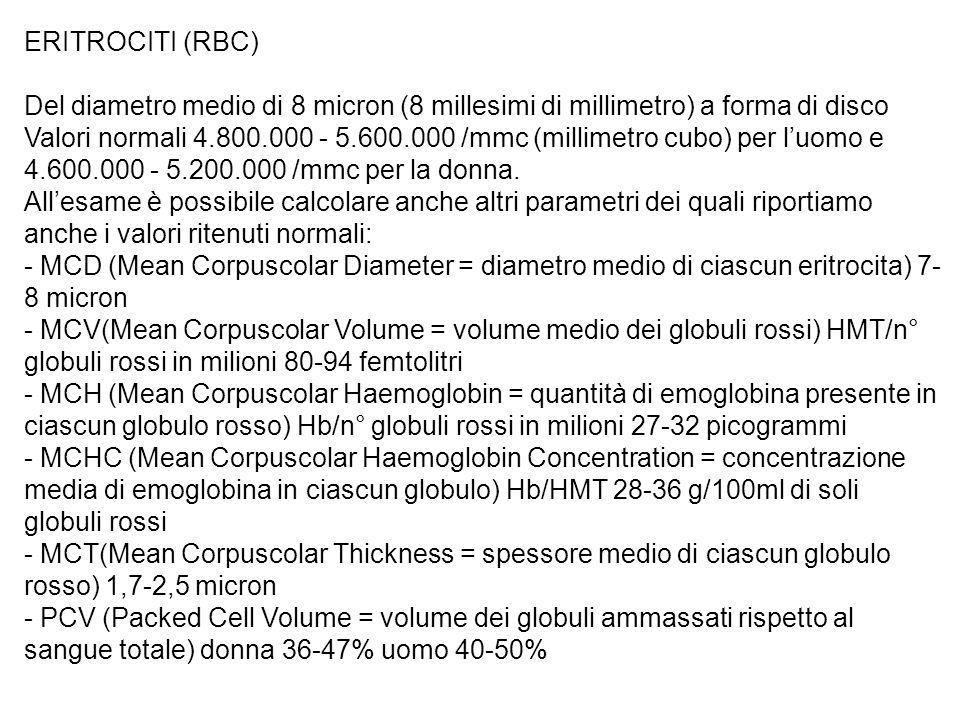 ERITROCITI (RBC) Del diametro medio di 8 micron (8 millesimi di millimetro) a forma di disco Valori normali 4.800.000 - 5.600.000 /mmc (millimetro cubo) per luomo e 4.600.000 - 5.200.000 /mmc per la donna.