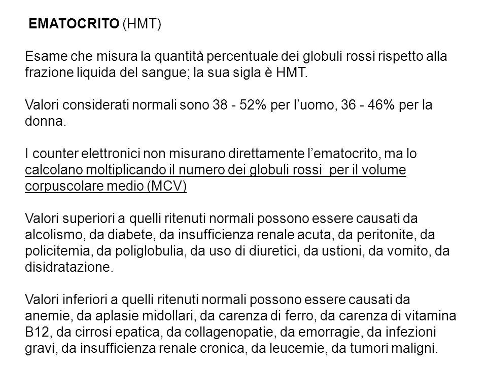 EMATOCRITO (HMT) Esame che misura la quantità percentuale dei globuli rossi rispetto alla frazione liquida del sangue; la sua sigla è HMT.