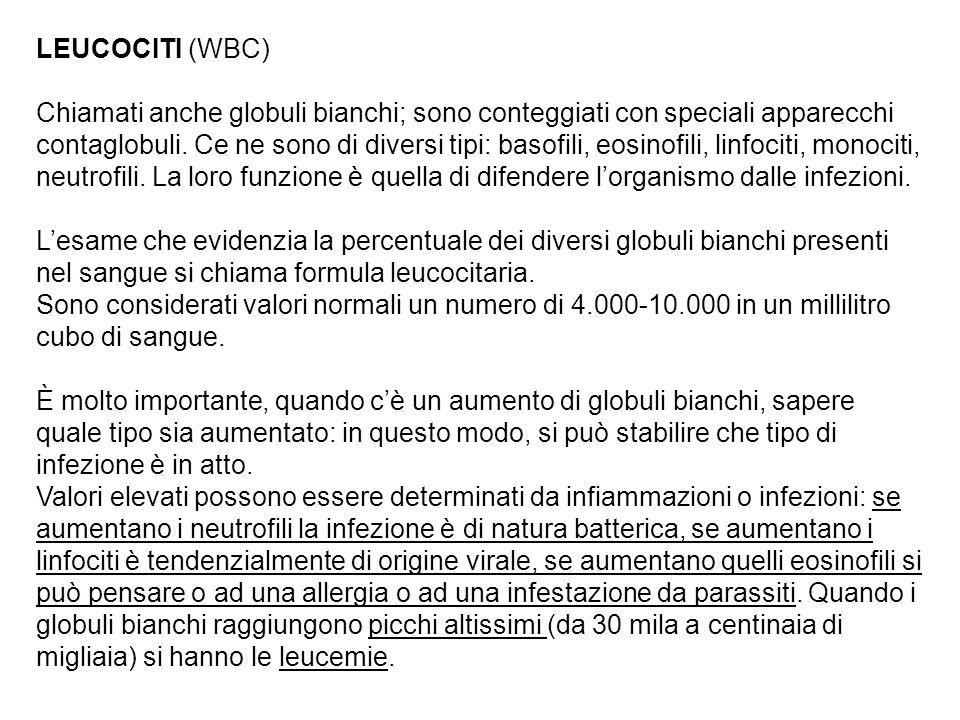 LEUCOCITI (WBC) Chiamati anche globuli bianchi; sono conteggiati con speciali apparecchi contaglobuli.