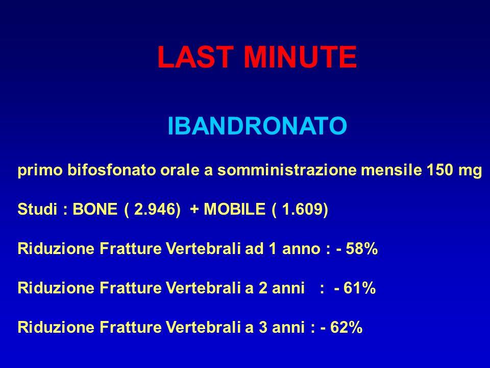LAST MINUTE IBANDRONATO primo bifosfonato orale a somministrazione mensile 150 mg Studi : BONE ( 2.946) + MOBILE ( 1.609) Riduzione Fratture Vertebral