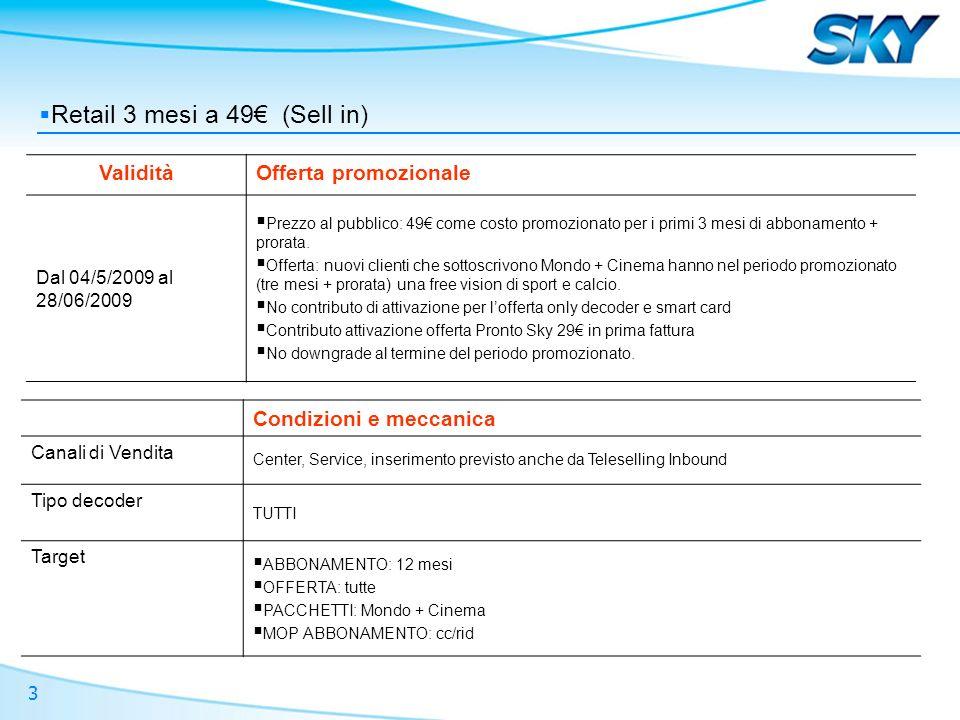 3 Retail 3 mesi a 49 (Sell in) ValiditàOfferta promozionale Dal 04/5/2009 al 28/06/2009 Prezzo al pubblico: 49 come costo promozionato per i primi 3 m