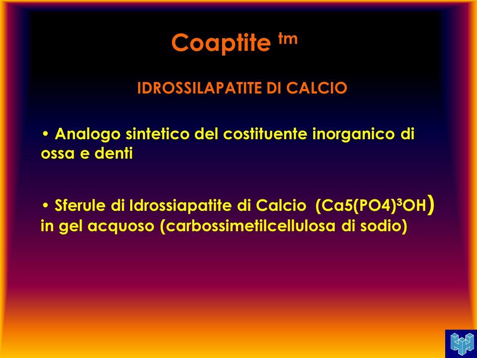 IDROSSILAPATITE DI CALCIO Analogo sintetico del costituente inorganico di ossa e denti Sferule di Idrossiapatite di Calcio (Ca5(PO4) 3 OH ) in gel acq