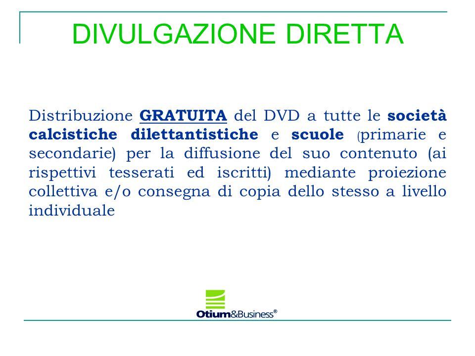 DIVULGAZIONE DIRETTA Distribuzione GRATUITA del DVD a tutte le società calcistiche dilettantistiche e scuole ( primarie e secondarie) per la diffusion