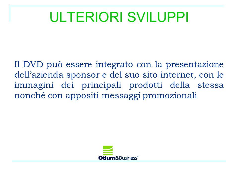ULTERIORI SVILUPPI Il DVD può essere integrato con la presentazione dellazienda sponsor e del suo sito internet, con le immagini dei principali prodot