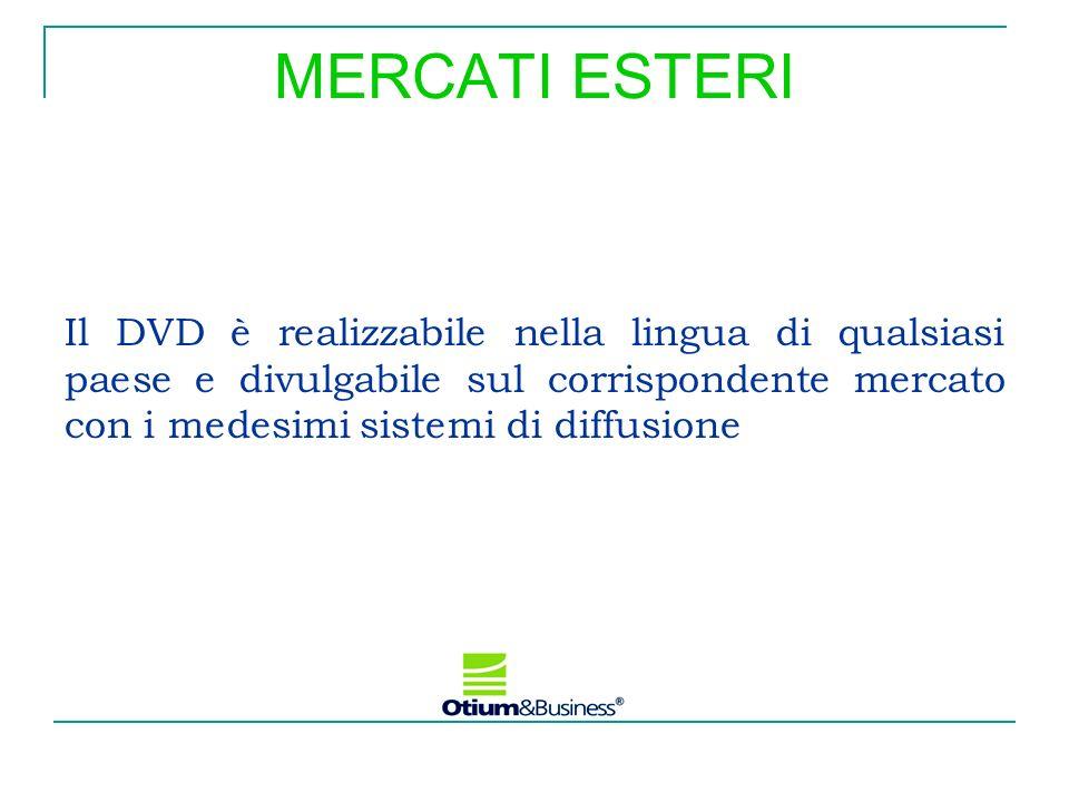 Il DVD è realizzabile nella lingua di qualsiasi paese e divulgabile sul corrispondente mercato con i medesimi sistemi di diffusione MERCATI ESTERI