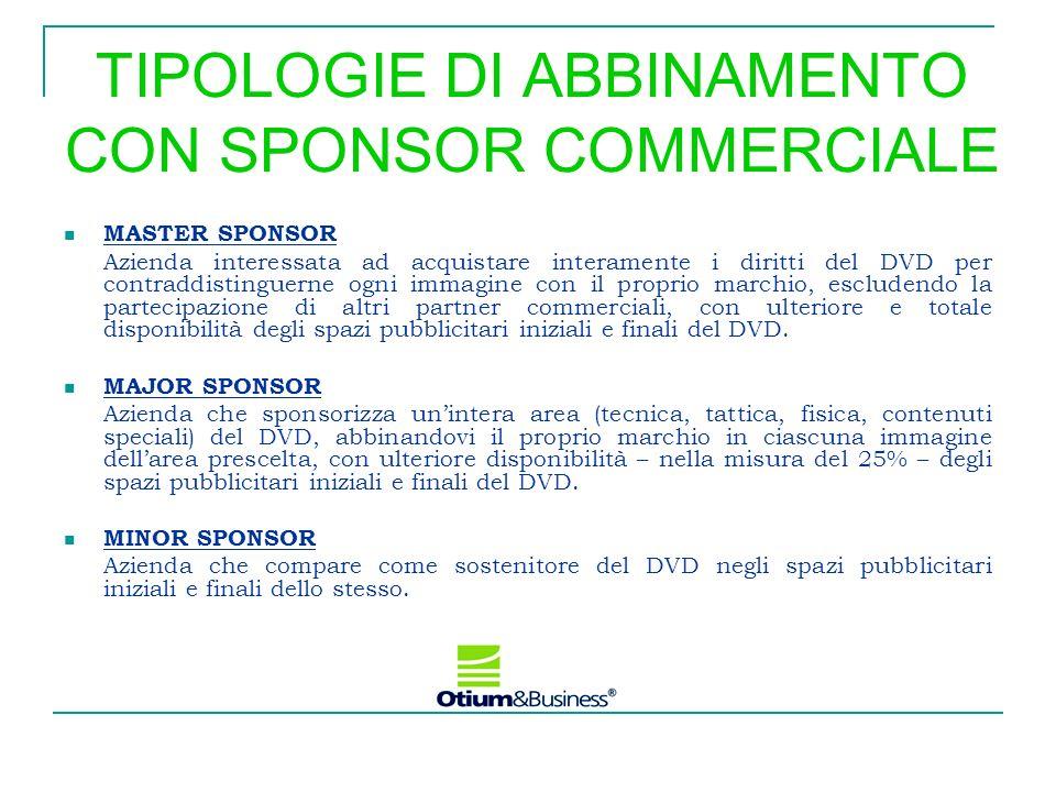 TIPOLOGIE DI ABBINAMENTO CON SPONSOR COMMERCIALE MASTER SPONSOR Azienda interessata ad acquistare interamente i diritti del DVD per contraddistinguern