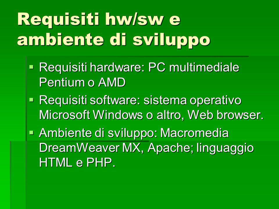 Requisiti hw/sw e ambiente di sviluppo Requisiti hardware: PC multimediale Pentium o AMD Requisiti hardware: PC multimediale Pentium o AMD Requisiti software: sistema operativo Microsoft Windows o altro, Web browser.