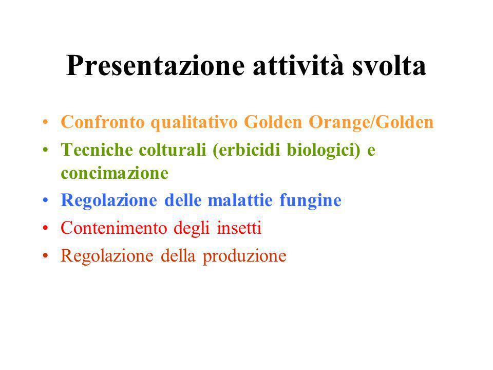 Presentazione attività svolta Confronto qualitativo Golden Orange/Golden Tecniche colturali (erbicidi biologici) e concimazione Regolazione delle malattie fungine Contenimento degli insetti Regolazione della produzione