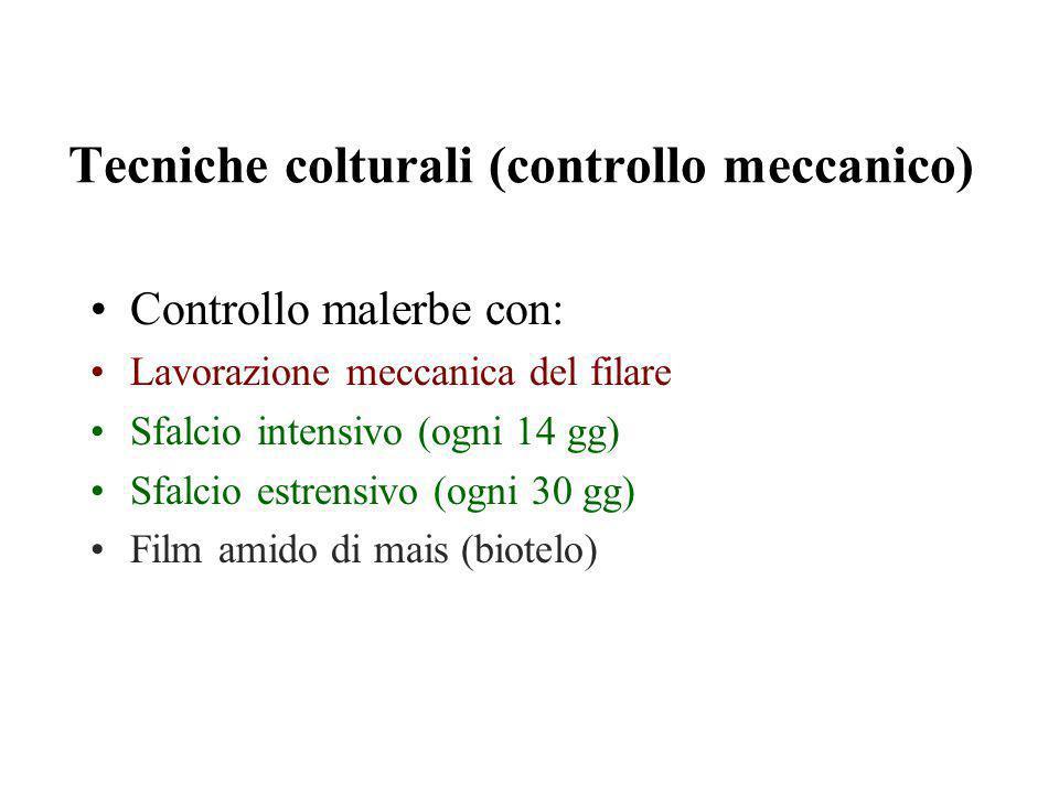Tecniche colturali (controllo meccanico) Controllo malerbe con: Lavorazione meccanica del filare Sfalcio intensivo (ogni 14 gg) Sfalcio estrensivo (ogni 30 gg) Film amido di mais (biotelo)