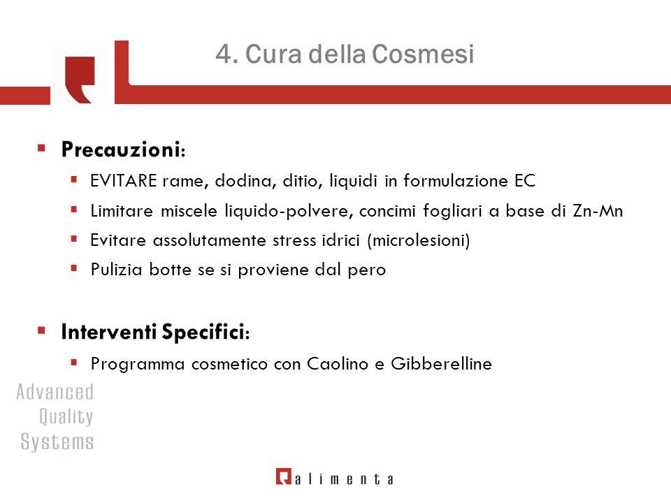 4. Cura della Cosmesi Precauzioni: EVITARE rame, dodina, ditio, liquidi in formulazione EC Limitare miscele liquido-polvere, concimi fogliari a base d