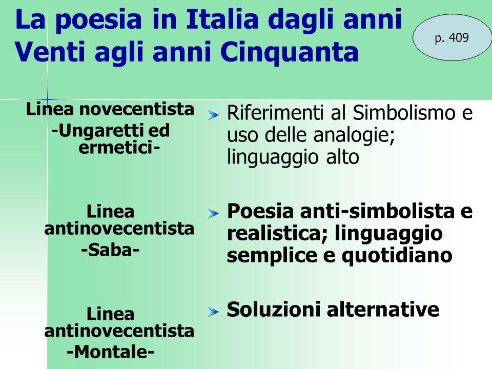 La poesia in Italia dagli anni Venti agli anni Cinquanta p. 409 Linea novecentista -Ungaretti ed ermetici- Linea antinovecentista -Saba- Linea antinov