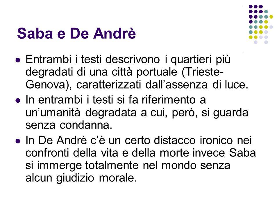 Entrambi i testi descrivono i quartieri più degradati di una città portuale (Trieste- Genova), caratterizzati dallassenza di luce. In entrambi i testi