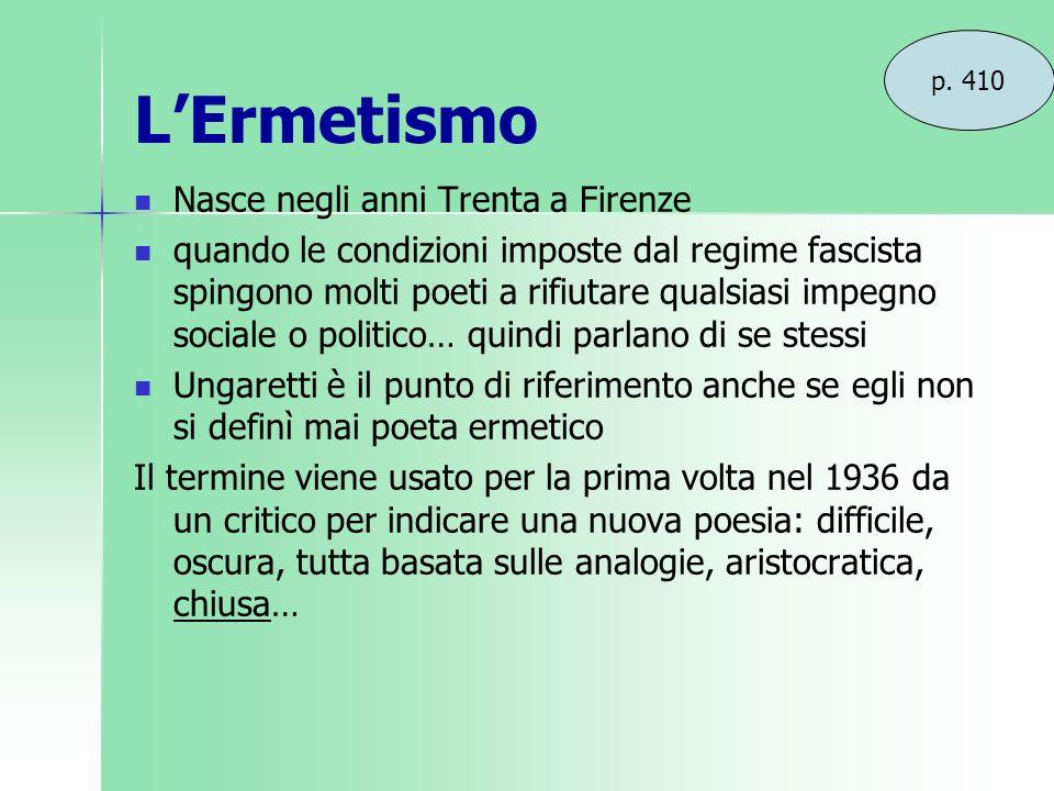 LErmetismo Nasce negli anni Trenta a Firenze quando le condizioni imposte dal regime fascista spingono molti poeti a rifiutare qualsiasi impegno socia