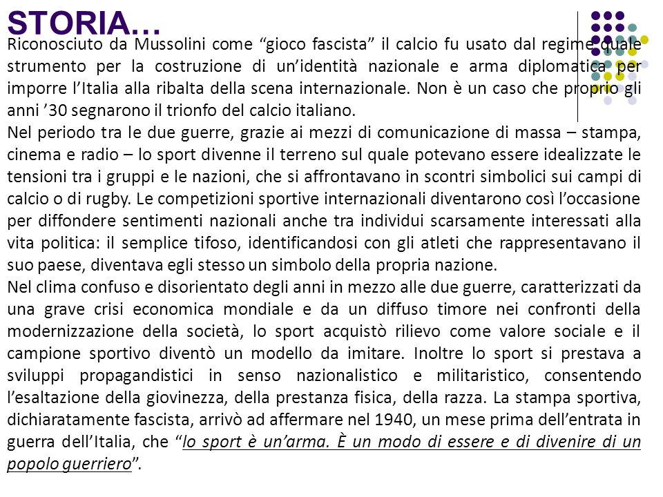 STORIA… Riconosciuto da Mussolini come gioco fascista il calcio fu usato dal regime quale strumento per la costruzione di unidentità nazionale e arma
