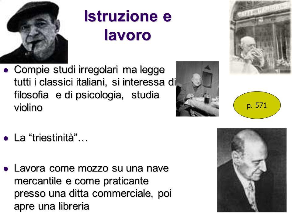 Istruzione e lavoro Compie studi irregolari ma legge tutti i classici italiani, si interessa di filosofia e di psicologia, studia violino Compie studi