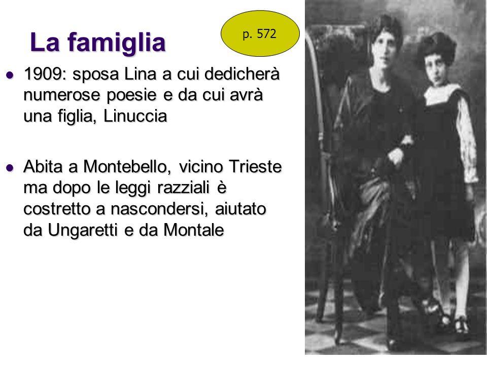 La famiglia 1909: sposa Lina a cui dedicherà numerose poesie e da cui avrà una figlia, Linuccia 1909: sposa Lina a cui dedicherà numerose poesie e da