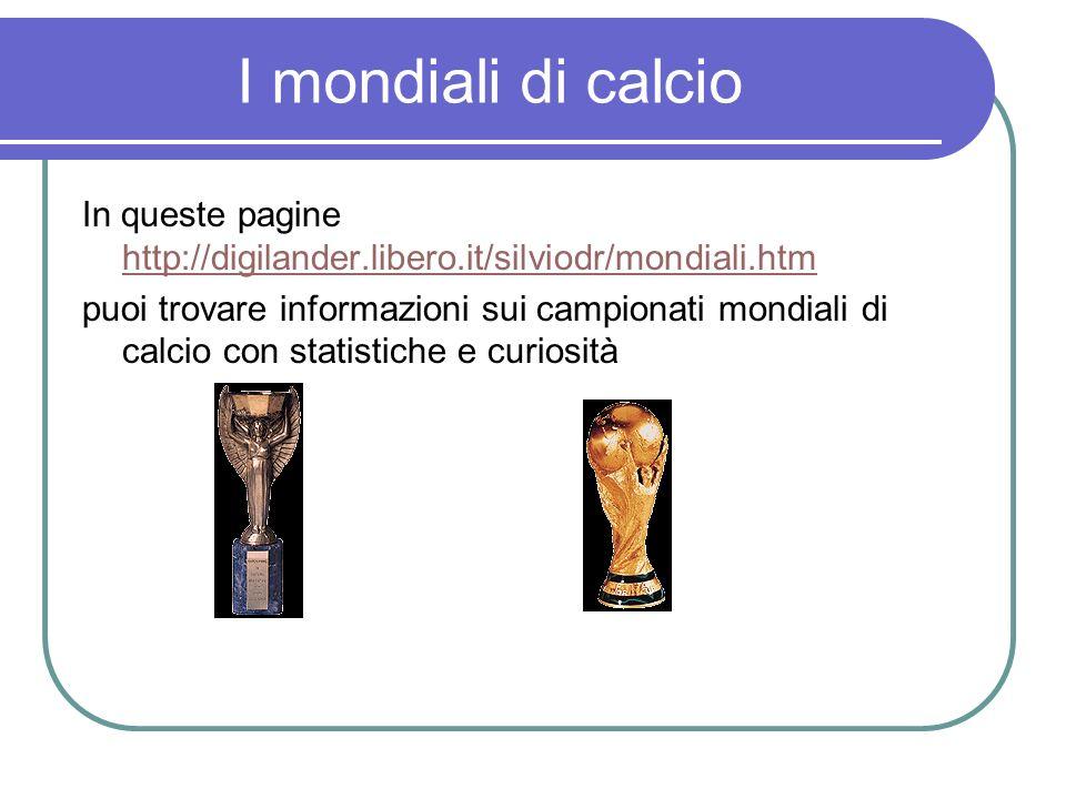 I mondiali di calcio In queste pagine http://digilander.libero.it/silviodr/mondiali.htm http://digilander.libero.it/silviodr/mondiali.htm puoi trovare
