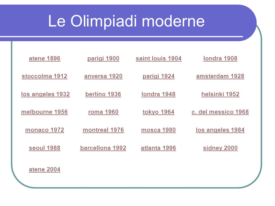 Le Olimpiadi moderne atene 1896parigi 1900saint louis 1904londra 1908 stoccolma 1912anversa 1920parigi 1924amsterdam 1928 los angeles 1932 berlino 193