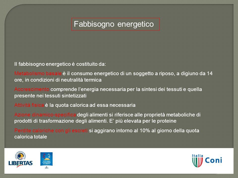Fabbisogno energetico Il fabbisogno energetico è costituito da: Metabolismo basale è il consumo energetico di un soggetto a riposo, a digiuno da 14 or